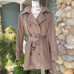 Calvin Klein Khaki Hooded, Wool Lined Trench Coat
